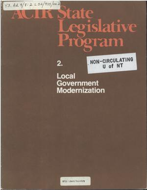 Primary view of object titled 'ACIR state legislative program : 2. Local government modernization'.