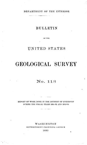 Primary view of Report of Work Done in the Division of Chemistry During the Fiscal Years 1891-92 and 1892-93
