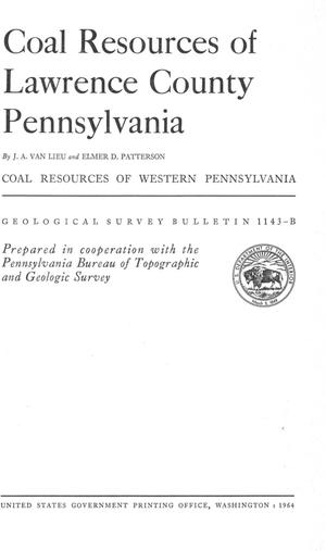 Primary view of object titled 'Coal Resources of Lawrence County Pennsylvania'.
