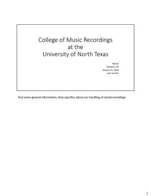 College of Music Recordings at the University of North Texas