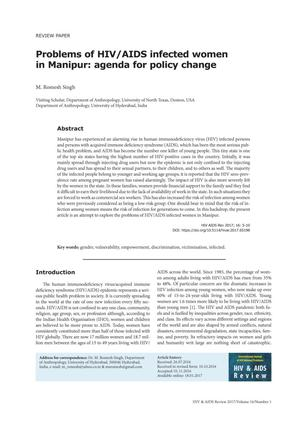 Primary view of object titled 'Problems of HIV/AIDS infected women in Manipur: agenda for policy change'.