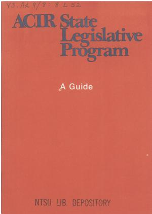Primary view of object titled 'ACIR state legislative program : a guide'.
