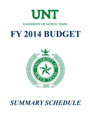 Primary view of object titled 'University of North Texas Budget: 2013-2014, Summary Schedules'.