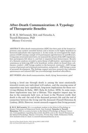 Primary view of object titled 'After-Death Communication: A Typology of Therapeutic Benefits'.