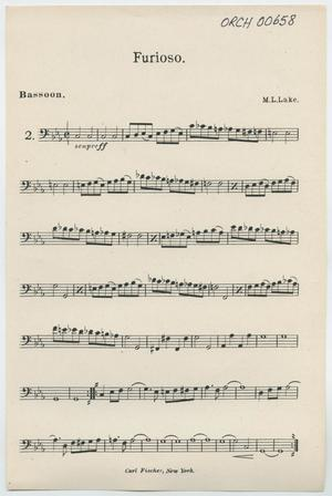 Primary view of Furioso: Bassoon Part