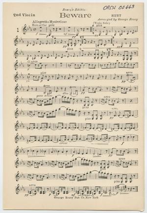 Primary view of Beware: Violin 2 Part
