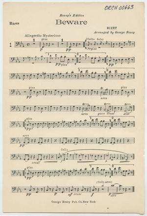 Primary view of Beware: Double Bass Part