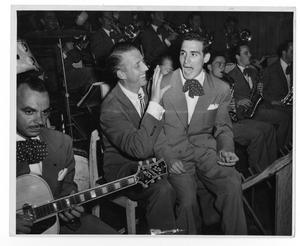 Primary view of object titled '[Photograph of Stan Kenton and Orchestra]'.
