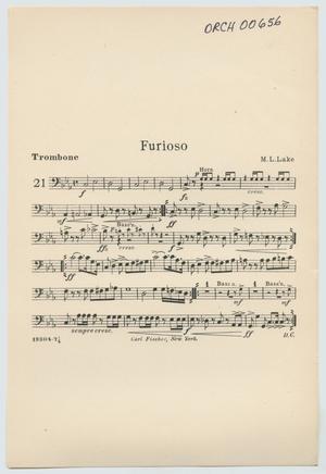 Primary view of Furioso: Trombone Part