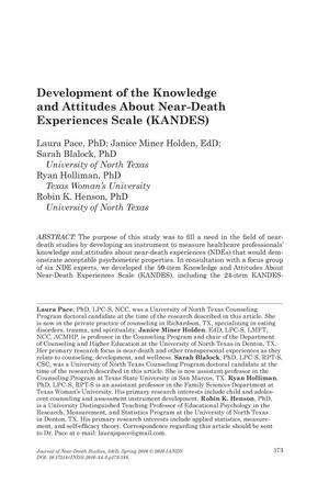 Primary view of object titled 'Development of the Knowledge and Attitudes About Near-Death Experiences Scale (KANDES)'.