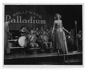 Primary view of object titled '[Photograph of Stan Kenton Orchestra and June Christy]'.