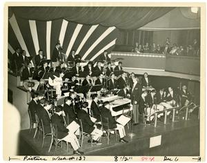 Primary view of object titled '[Photograph of Stan Kenton Orchestra at Arcadia Ballroom]'.