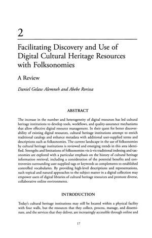 Primary view of object titled 'Facilitating Discovery and Use of Digital Cultural Heritage Resources with Folksonomies: A Review'.