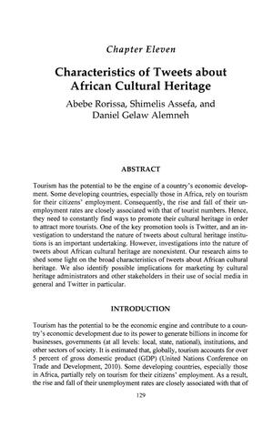 Characteristics of Tweets about African Cultural Heritage