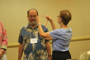 Primary view of object titled '[Ralph Hartsock receiving award at 2014 CSLA conference]'.