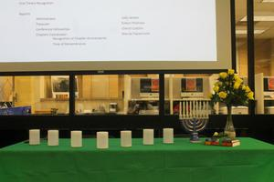 Primary view of object titled '[A decorated table at a CSLA meeting]'.