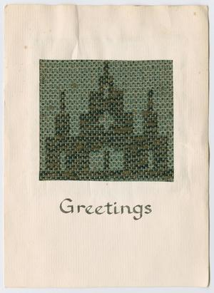 Primary view of object titled '[Woven greetings card]'.