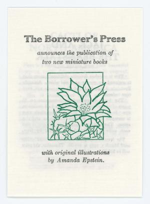 [Pamphlet from the Borrower's Press]