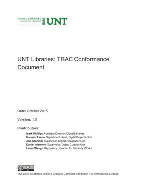 Primary view of object titled 'UNT Libraries: TRAC Conformance Document'.
