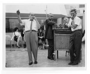 Primary view of object titled '[Photograph of Stan Kenton, Johnny Richards and Lee Gillette]'.