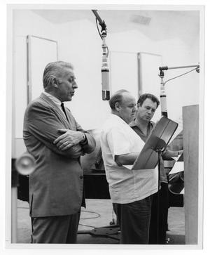 Primary view of object titled '[Photograph of Stan Kenton, Billie May and Nelson Riddle]'.