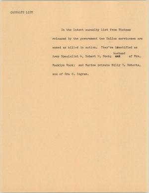 Primary view of [News Script: Latest casualties in Vietnam]