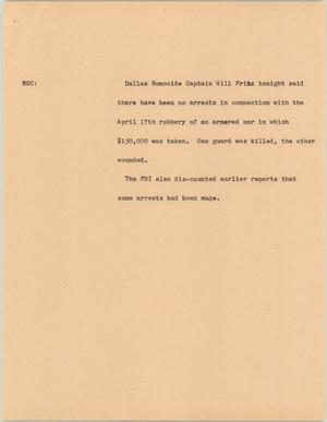 Primary view of object titled '[News Script: Armed robbery]'.