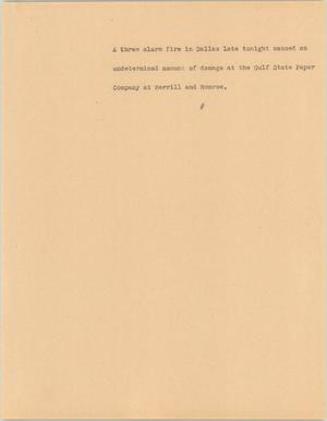 Primary view of object titled '[News Script: Three alarm fire]'.