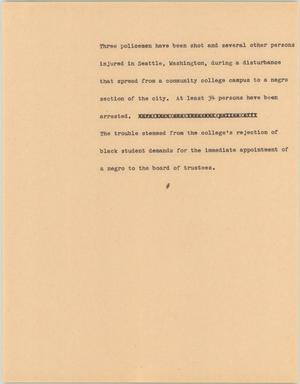Primary view of object titled '[News Script: Washington Disturbances]'.