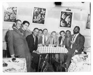 Primary view of object titled '[Photograph of Stan Kenton, Marvin Stamm, Gabe Baltazar, Dee Barton and Jim Amlotte]'.