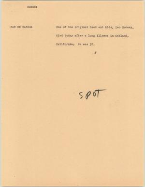 Primary view of object titled '[News Script: Gorcey]'.