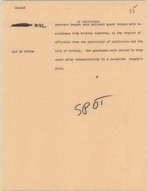 Primary view of object titled '[News Script: Regan]'.