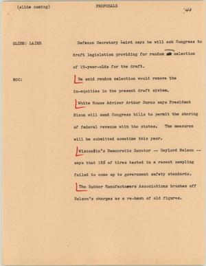 Primary view of object titled '[News Script: Proposals]'.