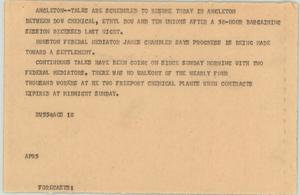 Primary view of object titled '[News Script: Bargaining]'.