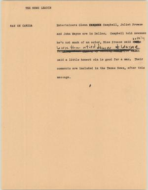 Primary view of object titled '[News Script: Tex News Leadin]'.