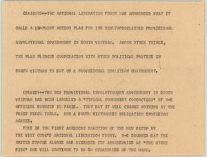Primary view of object titled '[News Script: South Vietnam Government]'.