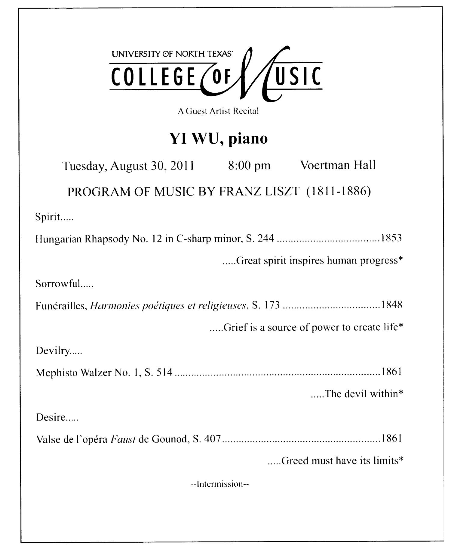 College of Music Program Book 2011-2012: Ensemble & Other Performances, Volume 1                                                                                                      3