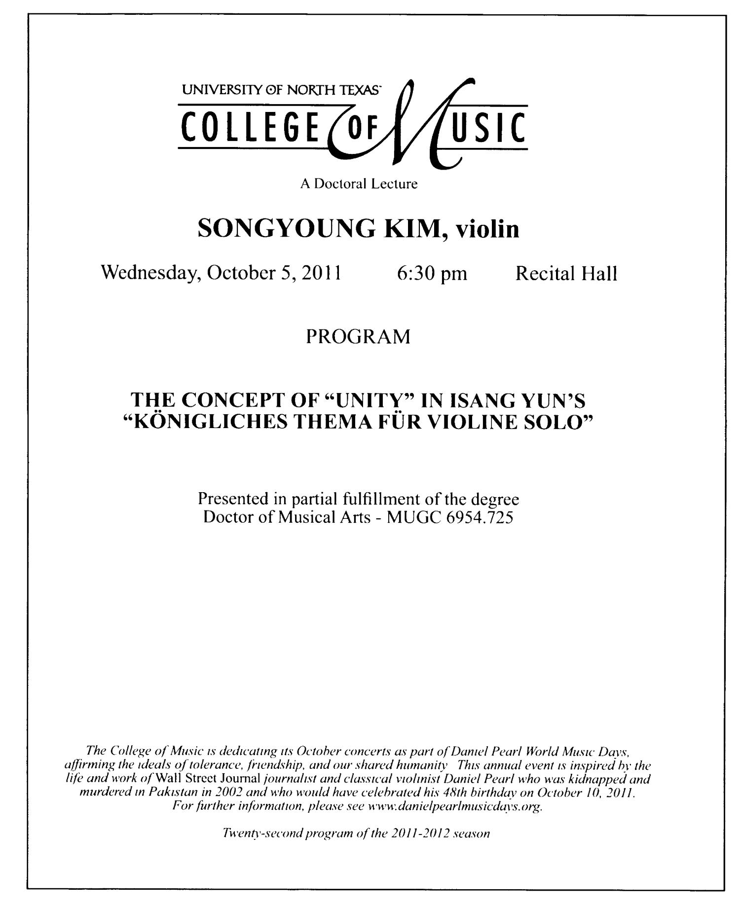 College of Music Program Book 2011-2012: Student Performances, Volume 1                                                                                                      16