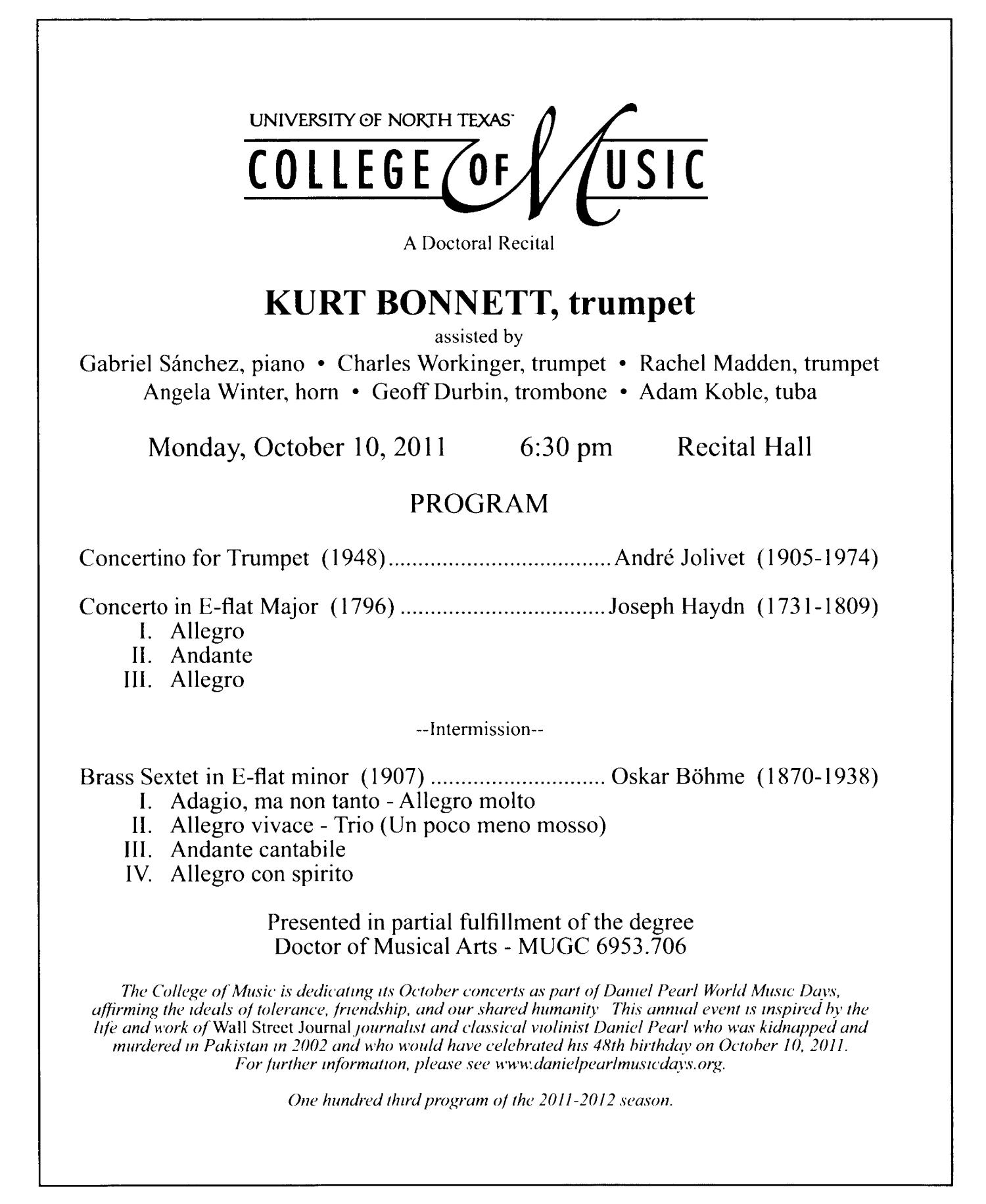 College of Music Program Book 2011-2012: Student Performances, Volume 1                                                                                                      22
