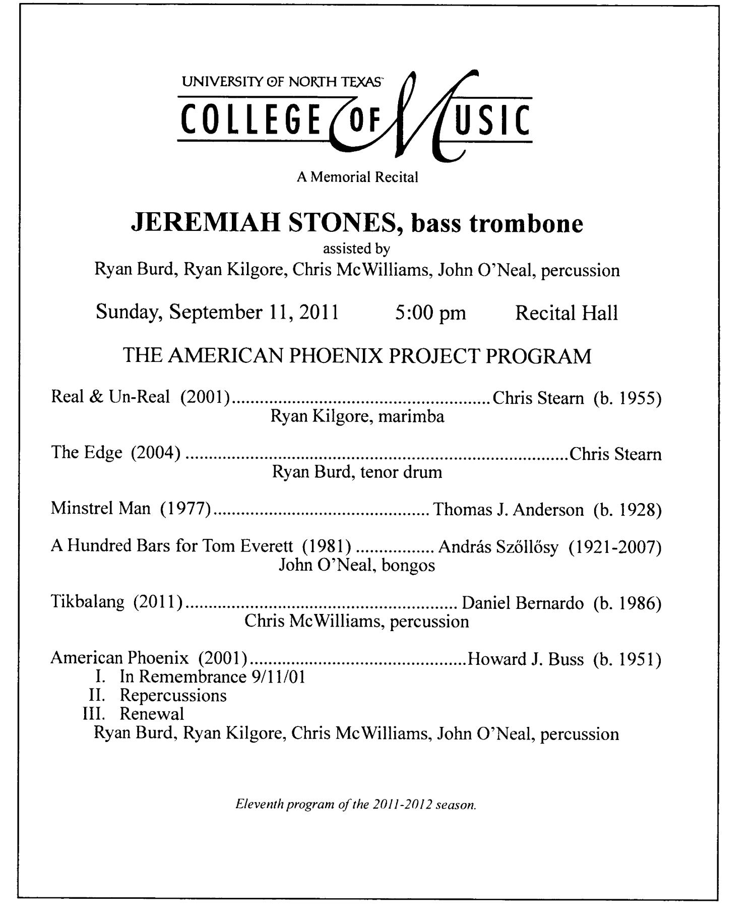 College of Music Program Book 2011-2012: Student Performances, Volume 1                                                                                                      4