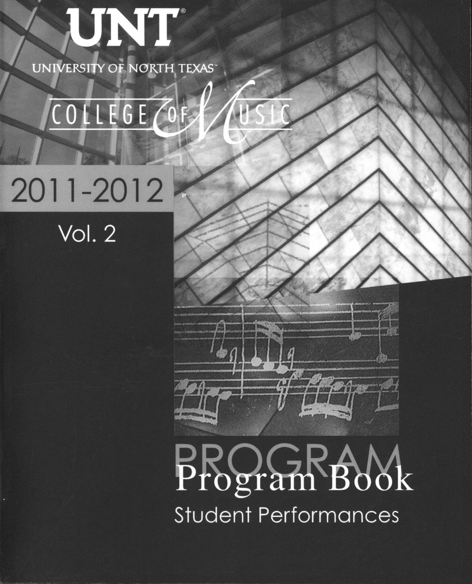 College of Music Program Book 2011-2012: Student Performances, Volume 2                                                                                                      Front Cover