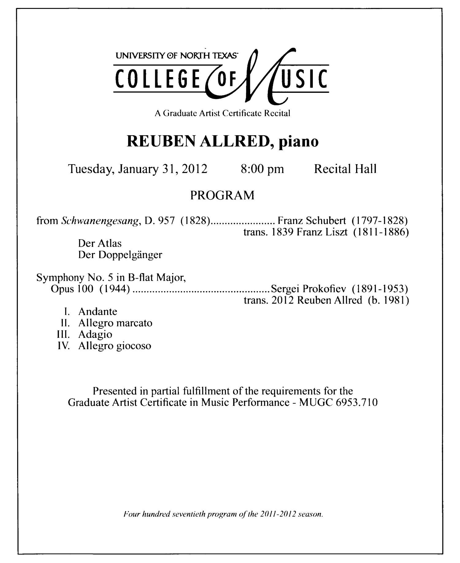 College of Music Program Book 2011-2012: Student Performances, Volume 2                                                                                                      30