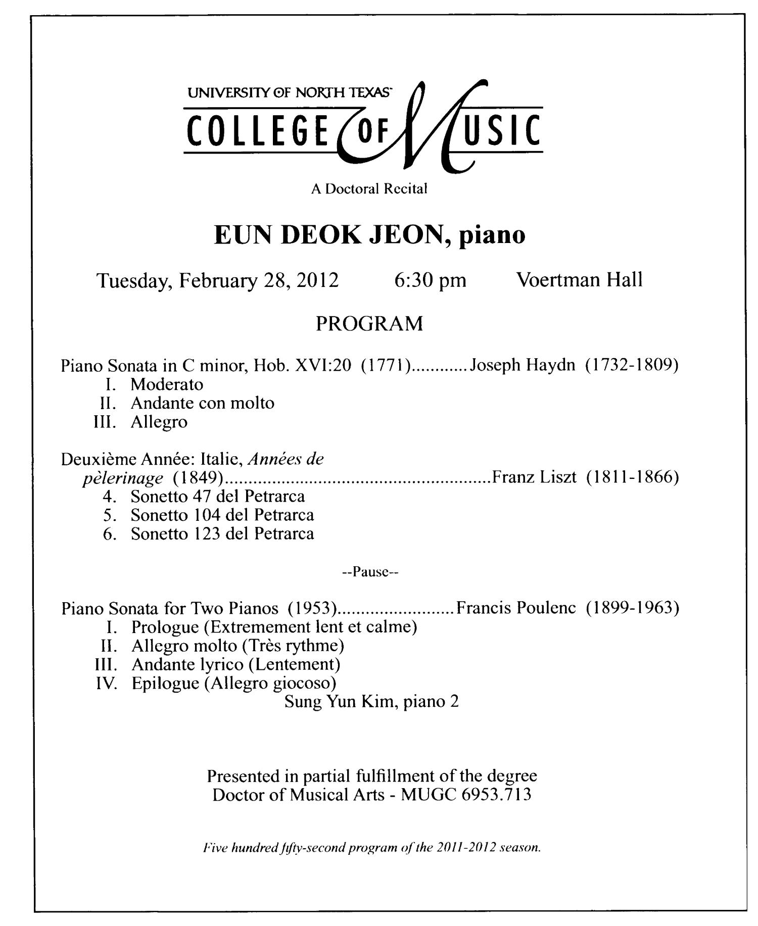 College of Music Program Book 2011-2012: Student Performances, Volume 2                                                                                                      76