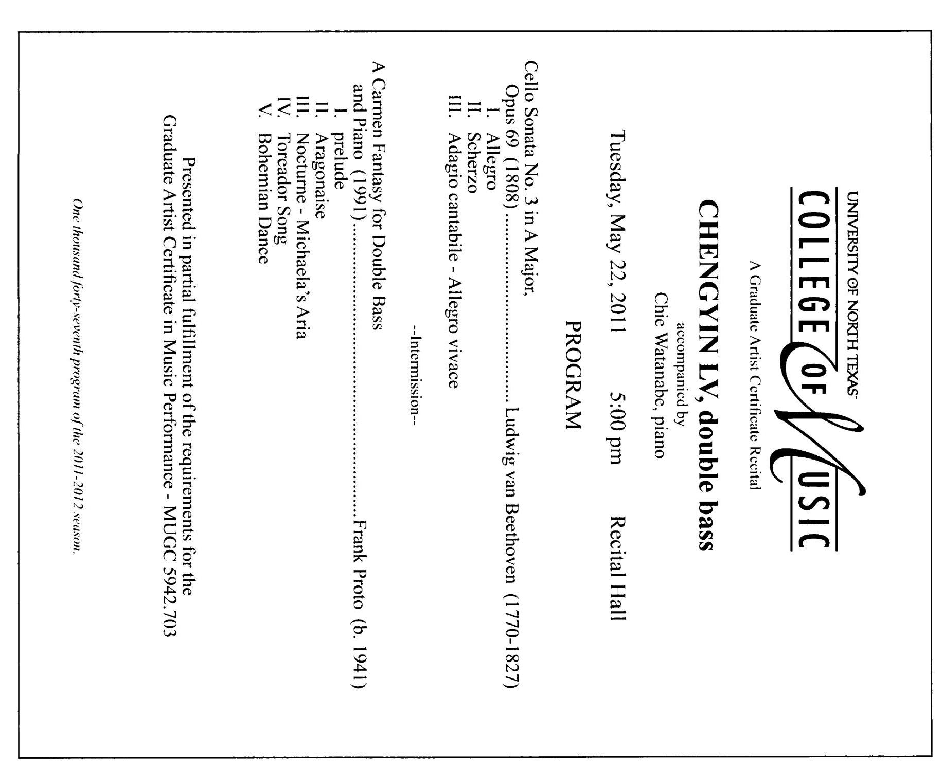 College of Music Program Book 2011-2012: Student Performances, Volume 3                                                                                                      4