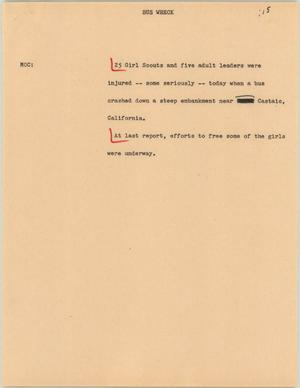 Primary view of object titled '[News Script: Bus wreck]'.