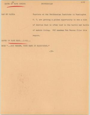 Primary view of object titled '[News Script: Smithsonian]'.