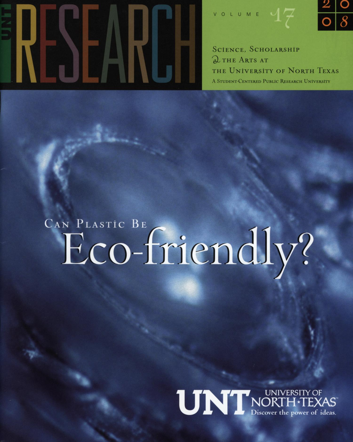 UNT Research, Volume 17, 2008                                                                                                      Front Cover