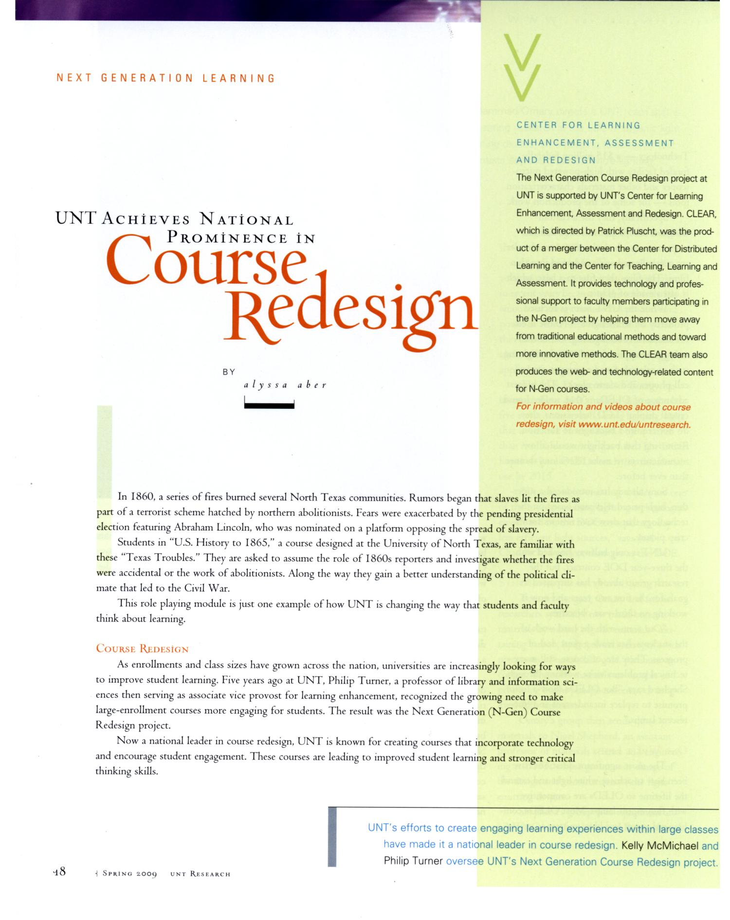 UNT Research, Volume 18, 2009                                                                                                      18