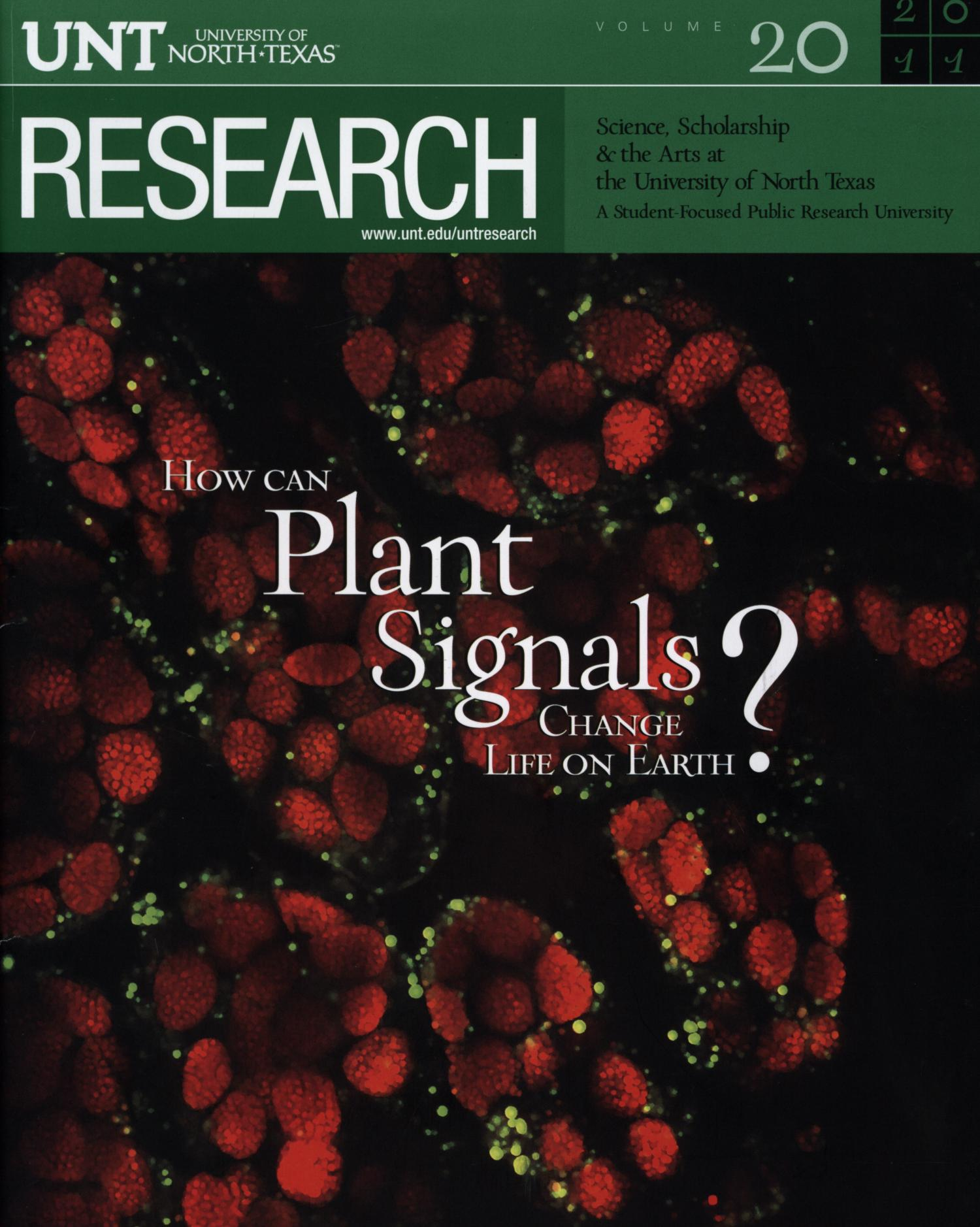 UNT Research, Volume 20, 2011                                                                                                      Front Cover