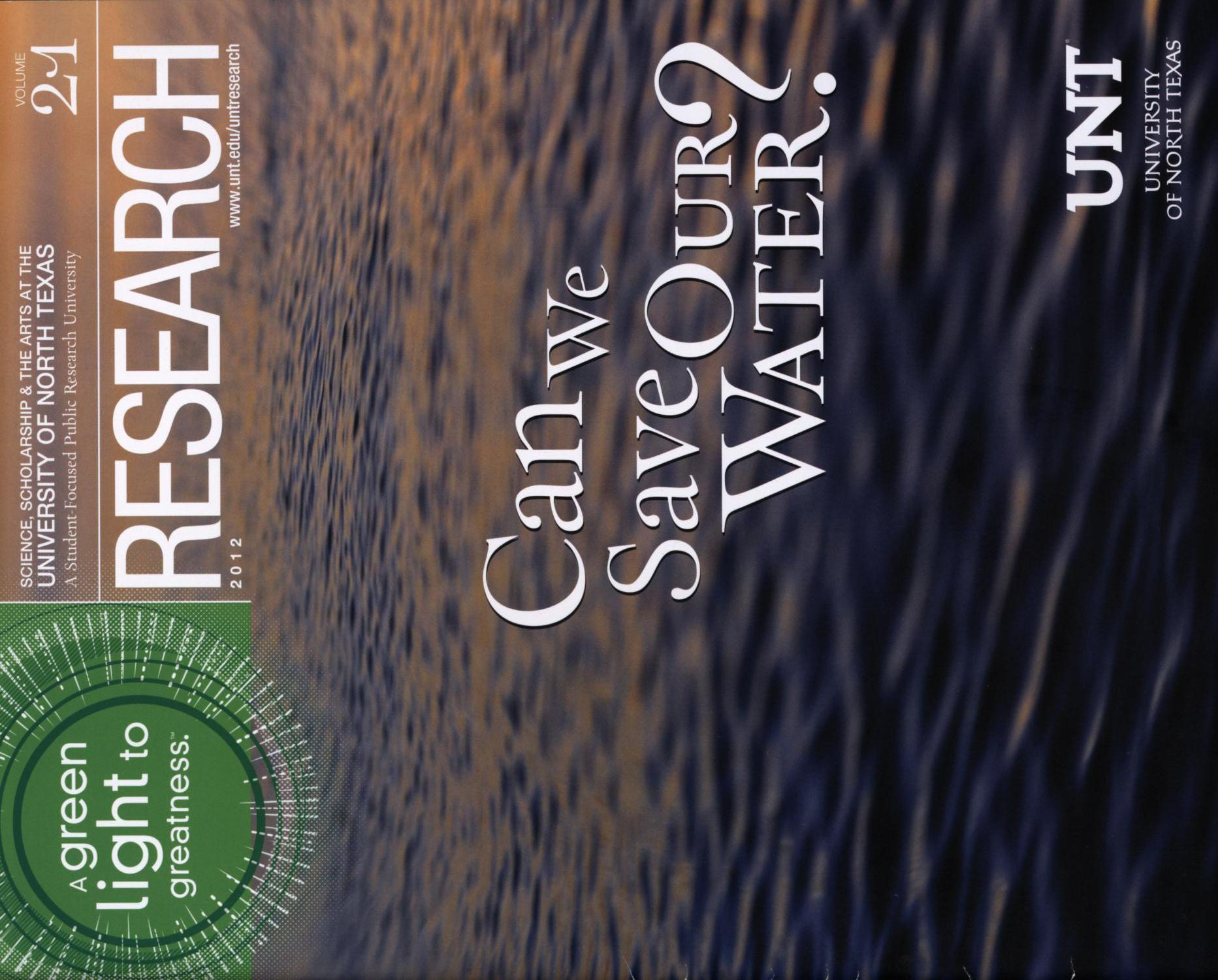 UNT Research, Volume 21, 2012                                                                                                      Front Cover
